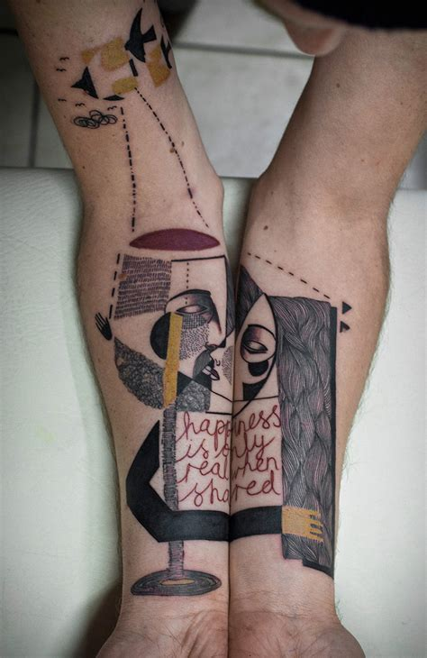 cubism tattoo artist duo creates surreal cubist tattoos based on clients