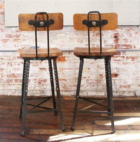 vintage wood and metal bar stools pair of vintage industrial adjustable wood and metal bar