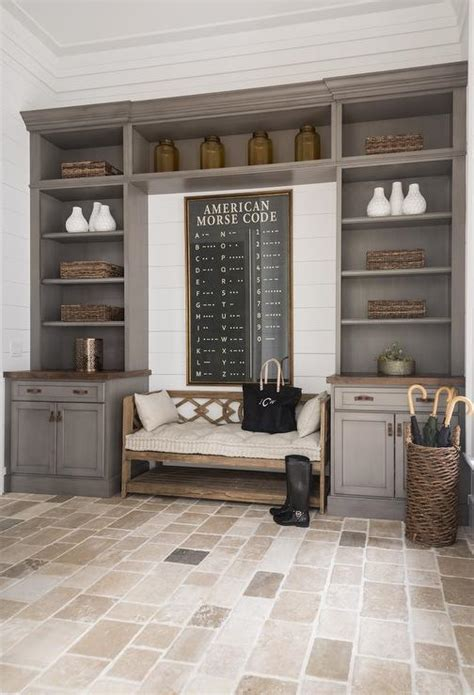 mudroom  gray built  cabinets cottage laundry room