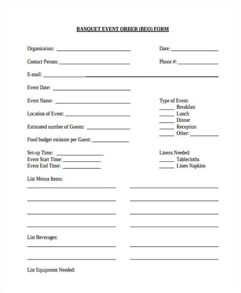 banquet order form template sle event forms 38 free documents in word pdf