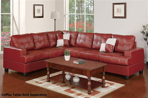 red leather sectionals poundex pershing f7642 red leather sectional sofa steal