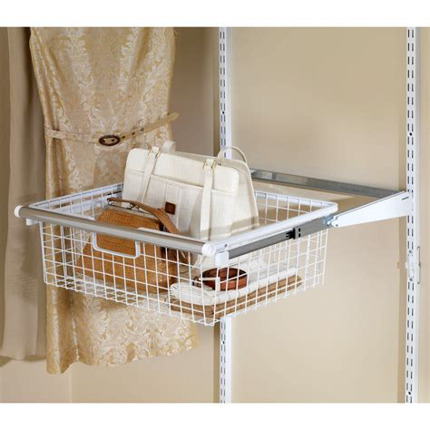 Closet Organizers Wire Baskets by Rubbermaid Configurations Add On Sliding Basket White