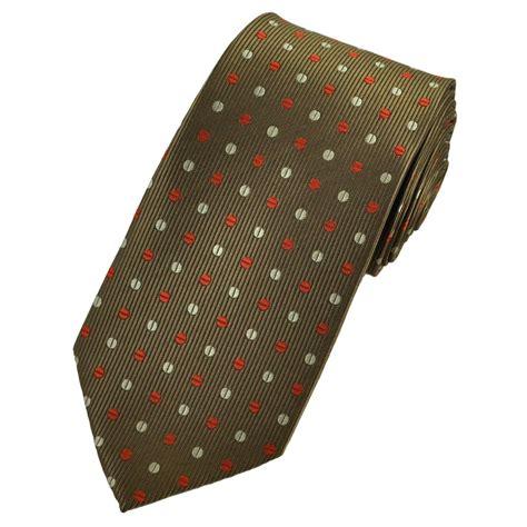brown pattern tie metallic brown with burnt orange beige patterned polka