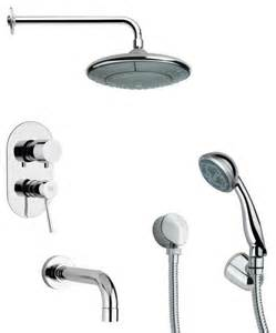 modern chrome tub and shower faucet set with shower