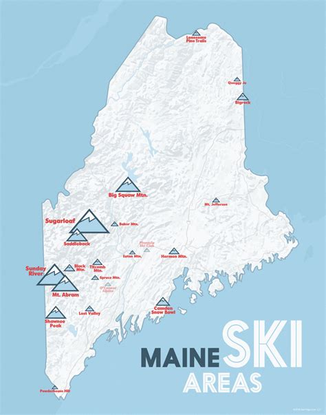 maine ski resorts map maine ski resorts map 11x14 print by bestmapsever on etsy