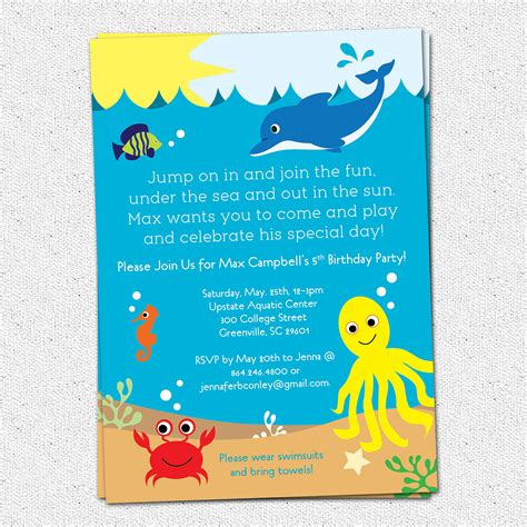 under the sea birthday party invitation printable boy or