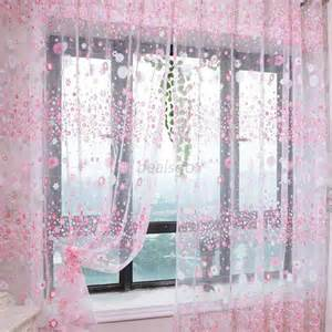 How Do You Drape A Window Scarf Pink Green Purple Floral Tulle Window Curtain Voile Door