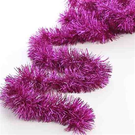 metallic fuchsia tinsel garland christmas garlands