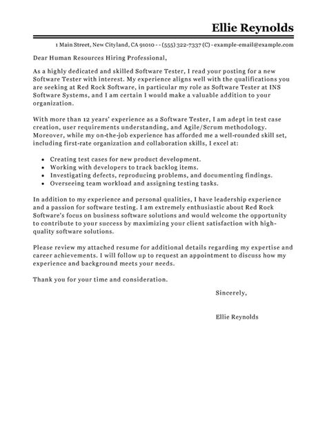 leading professional software testing cover letter