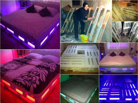 wood pallet bed frame with lights recycled wood pallet decoration and functionality home