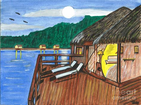 Tiki Huts On Water Grass Tiki Huts On The Water Painting By Sea Sons Home And