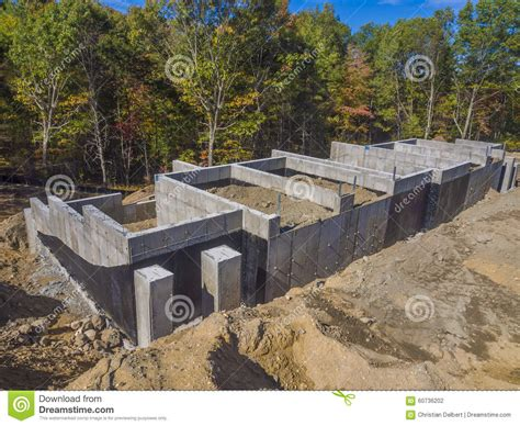 new home foundation new house foundation construction stock photo image 60736202