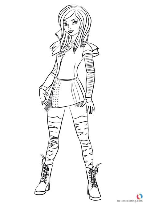 descendants coloring pages of evie mal from descendants 2 coloring pages printable for kids
