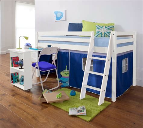 Mid Sleeper Beds by Cabin Bed Mid Sleeper Wooden Pine With Desk And Mattress