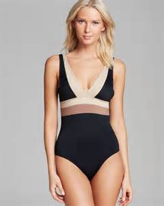 color block swimsuit dkny color block v neck maillot one swimsuit in