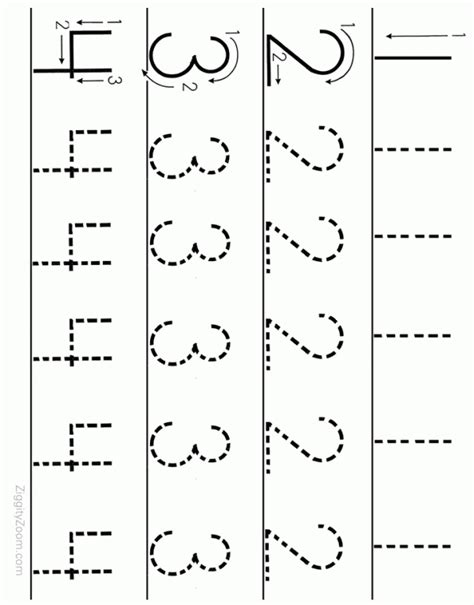 printable preschool alphabet letters trace pages number tracing worksheet numbers 1 to 4 tracing