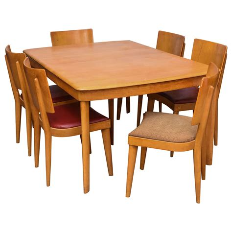 heywood wakefield dining room table heywood wakefield stingray table with six chairs and two leaves 1960s usa at 1stdibs