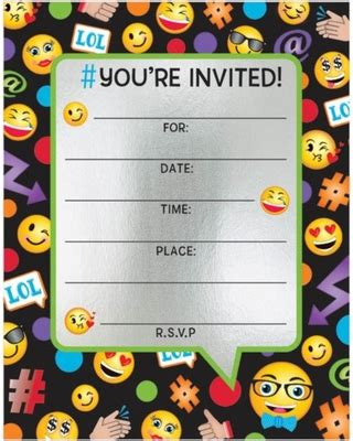 Here S A Great Deal On Emoji Foil Birthday Party Invitations 8 Count Emoji Birthday Invitation Template