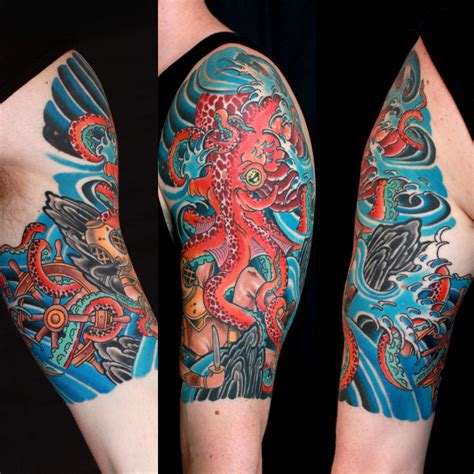 japanese tattoo octopus meaning traditional octopus and diver half sleeve by braden