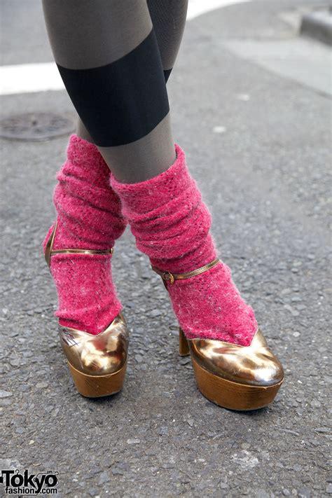 leg warmers high heels vintage harajuku style w oversized acid wash jacket