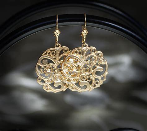 filigree jewelry 14kt filigree earrings filigree earring gold earrings gold