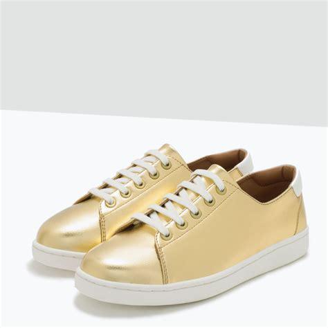 shiny sneakers zara shiny sneakers in metallic lyst