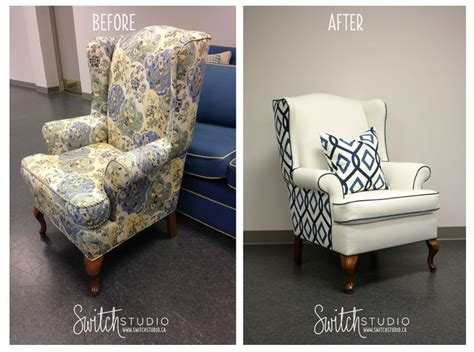 switch studio reupholster before after wingback chair