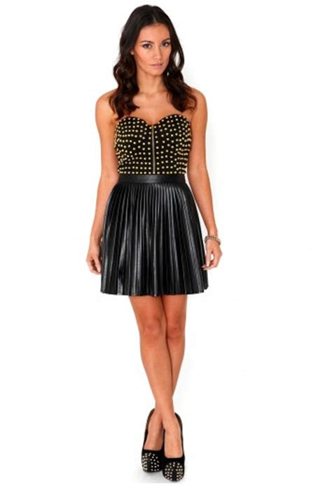 Dress Ghita ghita studded bustier leather pleated dress dresses