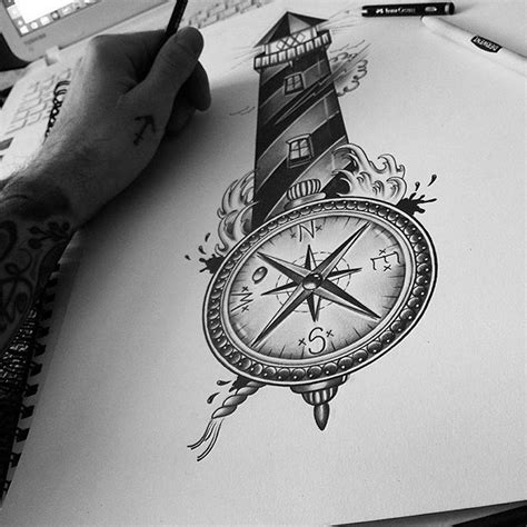 christian lighthouse tattoo lighthouse compass for my client lighthouse tattoo