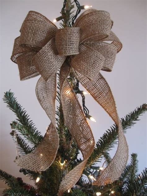 how to make a burlap bow tree topper bow for tree topper burlap tree topper bow gift topper by