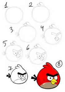 draw angry bird step step instruction draw oiseaux tutoriels comment
