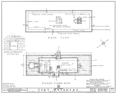 floor plan survey 1934 survey of fort matanzas second floor plan no 15 5 us department of the interior office
