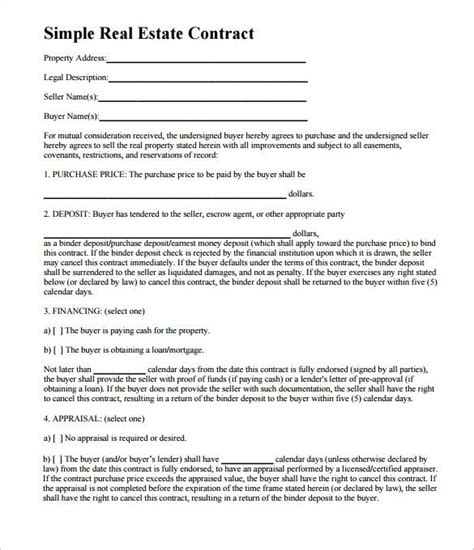 free printable real estate purchase agreement