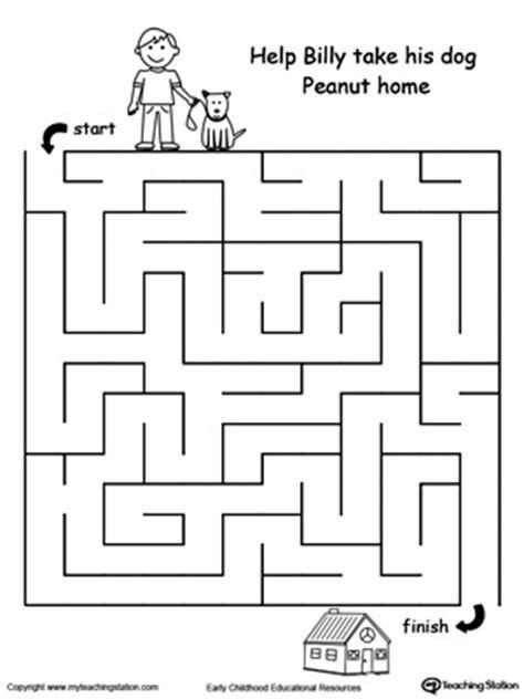 printable number mazes kindergarten pet walk maze motor skills maze and worksheets