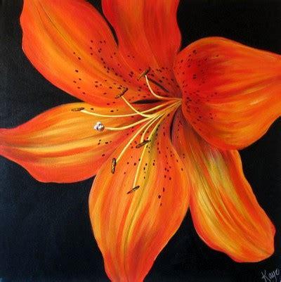 tiger lily acrylic on box canvas
