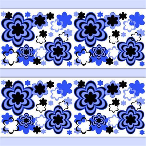 Jp Wallpaper Sticker Blue floral wallpaper border wall decal royal blue abstract modern stickers decor ebay