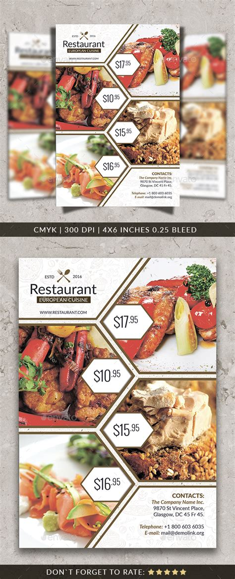 Restaurant Flyer Template By Yoopiart Graphicriver Restaurant Flyer Template