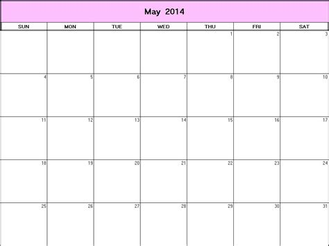 printable calendar 2014 may may 2014 printable blank calendar calendarprintables net