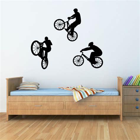 bmx wall stickers bike wall decal set of three bmx bikers children wall