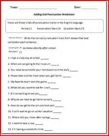 1st grade punctuation worksheets kristal project edu