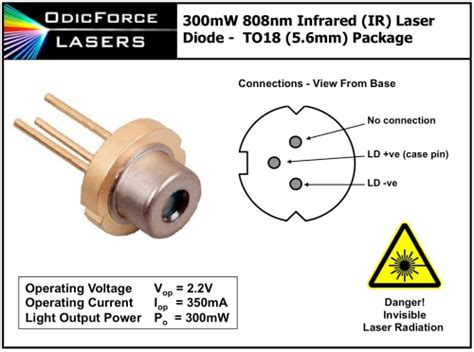 laser diode voltage 808nm 300mw infrared ir laser diode to56 5 6mm odicforce