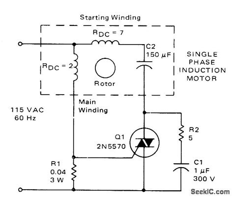 induction motor speed using triac triac starting switch for 1 2 hp motor switch control control circuit circuit diagram