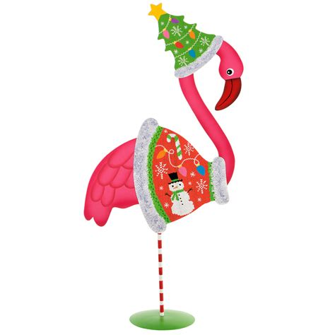 dress up pink flamingo decoration with ugly christmas sweater
