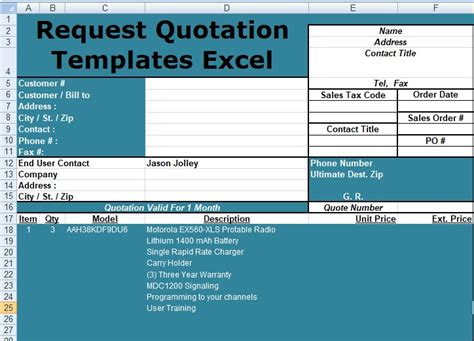 Request For Quote Template Excel Request Quotation Templates Excel Free Spreadsheettemple