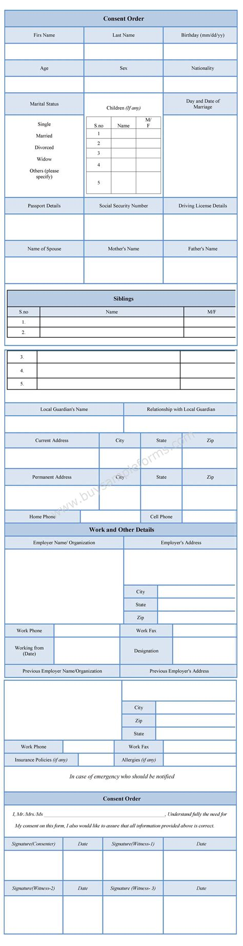 consent order form consent order form consent order form template