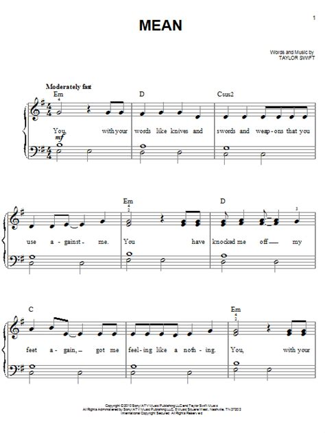 taylor swift mean lyrics and piano chords mean sheet music by taylor swift easy piano 80448