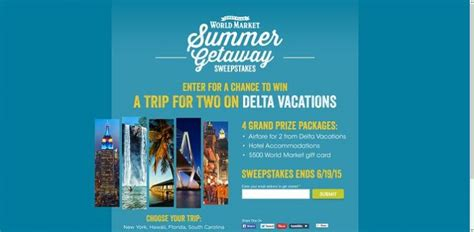 World Market Sweepstakes 2017 - worldmarketsweepstakes com world market s summer getaway sweepstakes