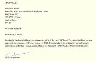 Union Resignation Letter resignation letter format effective board excecutive immediately union resignation letter