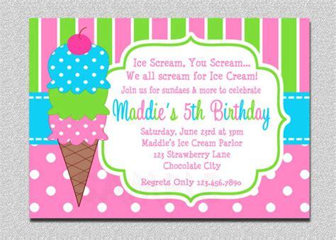 printable birthday invitations etsy ice cream birthday invitations pink and green ice cream