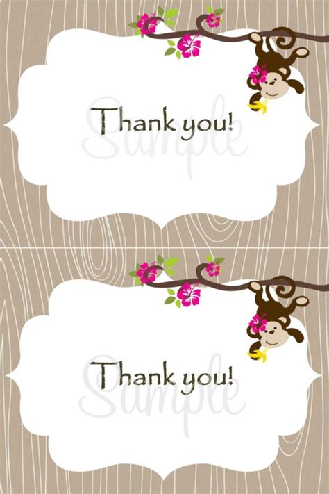 4x6 Thank You Card Template by Monkey Baby Thank You Card 2 Per 4x6